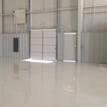 Solid White Epoxy hanger flooring